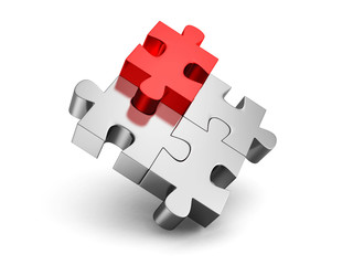 red different individual jigsaw puzzle. 3d render illustration
