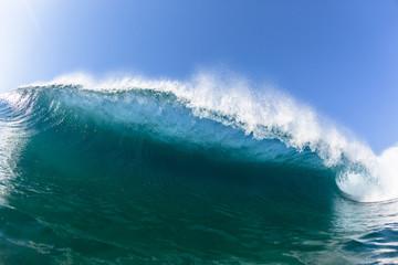 Crashing Blue Ocean Wave Swimming