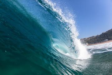 Blue Wave Swimming Hollow Crashing