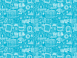 doodle internet seamless pattern