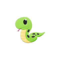 cute snake is reptile animal cartoon in the zoo of paper cut