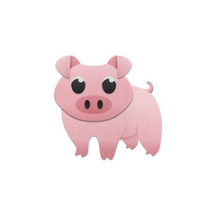 cute pig is animal cartoon in farm of paper cut