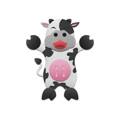 cute milk cow is animal cartoon in farm of paper cut