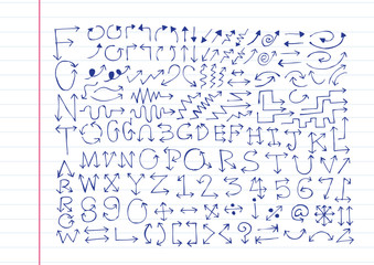sketch arrows alphabet  , Arrow font A through Z and numbers