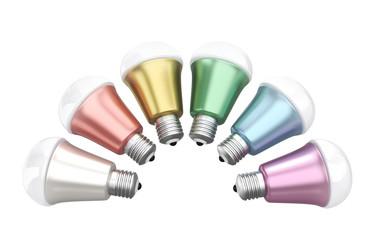 Energy efficient LED light bulbs isolated on white background