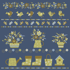 garden accessories cute collection, vector illustration