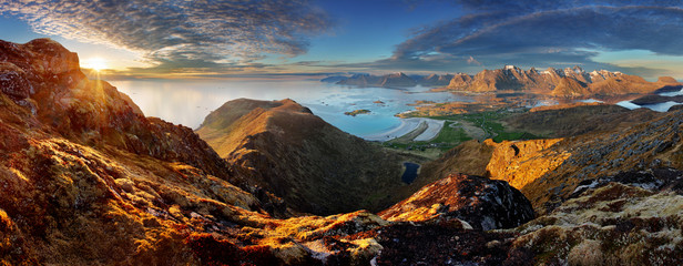 Poster Scandinavia Norway Landscape panorama with ocean and mountain - Lofoten
