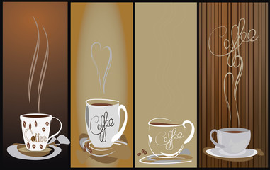 4 Steamy coffee cup background