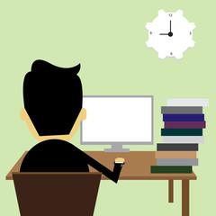 Men are working computer