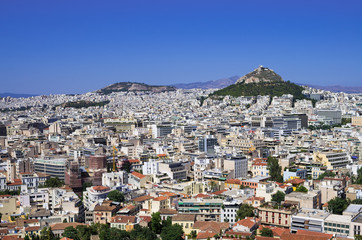 Athens as seen from the Acropolis, on a sunny day