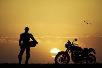 Wall Mural - man motorcyclist