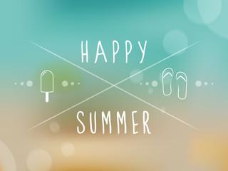 Happy summer. Blurred background