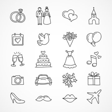 Vector wedding icons, bride, groom, couple, love, marriage