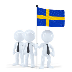 Business team holding flag of Sweden. Isolated. Clipping path