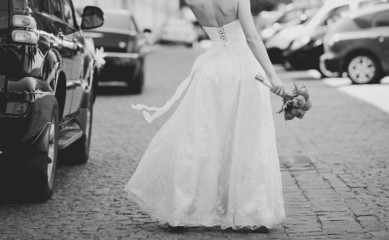 Black and white wedding picture.
