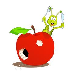 Apple and little caterpillar