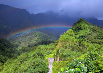 Tahiti. Mountain and rainbow