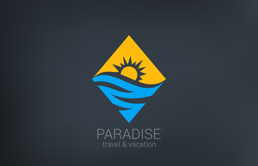 Travel vector logo design. Rhombus shape creative