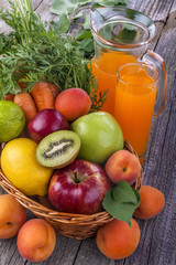 .healthy multivitamin juice with various fruit and vegetables