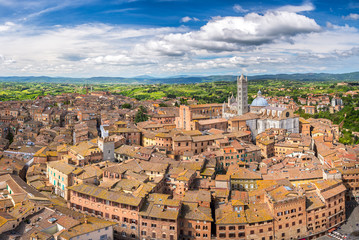 Wall Mural - Aerial view of Siena