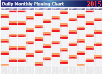 Vector of Daily Monthly Planing Chart Year 2015