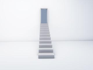 Stairs to open door. success concept