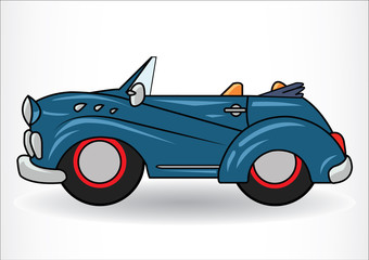 Dark blue classic retro car.  on white background