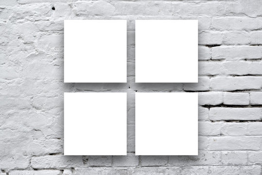 Square Posters hanging on the art gallery wall