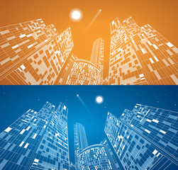 Airplane flying. Business building, neon city, panorama