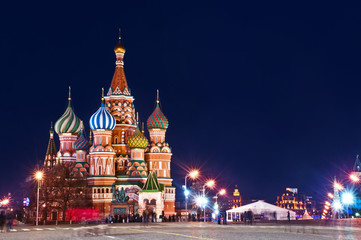 Tuinposter Moskou Moscow St. Basil's Cathedral Night Shot