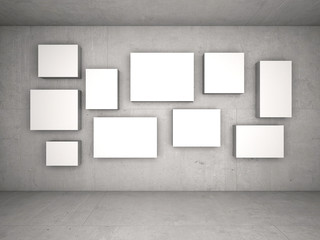 Interior with empty frames on wall