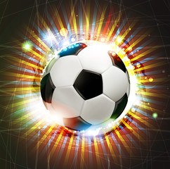Soccer ball with fireworks