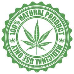 Grunge stamp with marijuana leaf emblem. Cannabis leaf silhouett