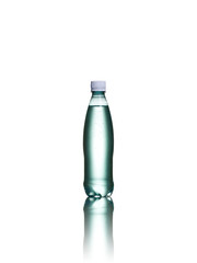 Small plastic water bottle isolated on a white background