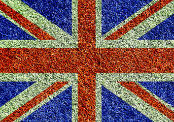 Poster - Britain, the flag on the texture of the grass