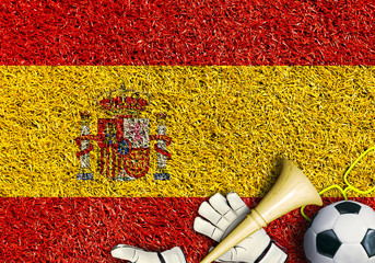 Poster - Spain, the flag on the texture of the grass