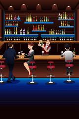Bartender working in a bar