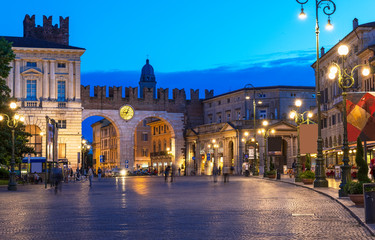 Medieval Gates to Piazza Bra in Verona at night, Italy Fotomurales