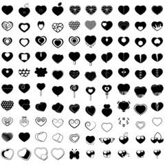 Hearts Icons Set - Isolated On White Background