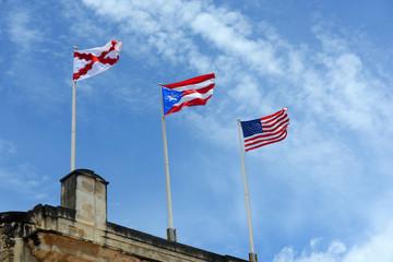 Burgundy Cross flag, Puerto Rico flag and USA flag, San Juan