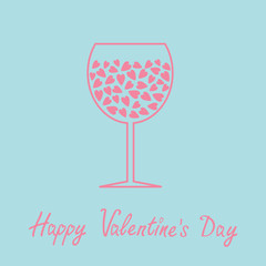 Wine glass with hearts inside. Love card in flat design style.