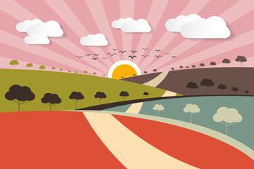 Morning - Evening Rural Paper Vector Landscape