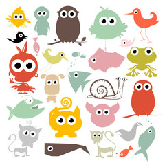 Colorful Simple Vector Animals Silhouette Set