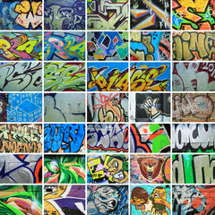 Fotobehang Graffiti collage Graffiti, walls are painted colors, background, street culture