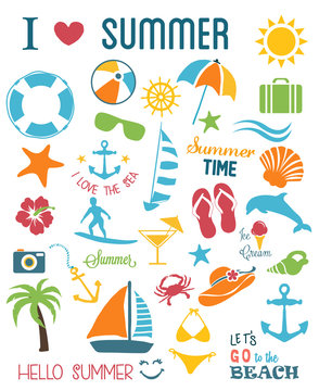Summer Icons Set.Vector