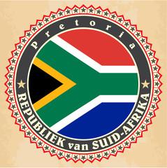 Vintage label cards of South Africa flag