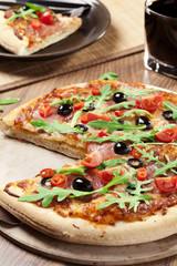 Pizza peperoni on plate