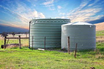 Eco friendly fresh water tanks on rural property