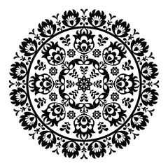 Polish folk art pattern in circle - wzory lowickie, wycinanki - fototapety na wymiar