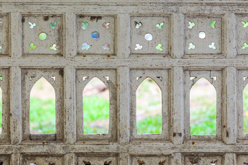 windows on white wall Thai ancient painting design